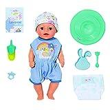 Baby Born Zapf Creation 827338 - Muñeco con Funciones Reales y Muchos Accesorios (36 cm), Color Azul, Tacto Suave