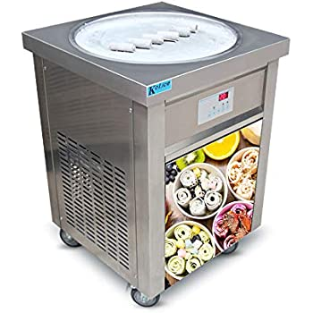 US Snack Commercial Food Machine ETL 110V 55cm Single Round ice pan Fry ice Cream Machine Fried ice Cream Machine roll ice Cream Machine ice Cream roll Machine for Bars, Cafes, ice Cream Store
