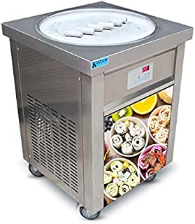 US snack food machine ETL 110V 55cm single round ice pan fry ice cream machine fried ice cream machine roll ice cream machine ice cream roll machine for Bars, Cafes, ice cream store