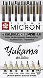 SAKURA PIGMA YUKAMA  Art-Edition, 6 rotuladores de punta fina Pigma Micron y un rotulador de punta de pincel negros