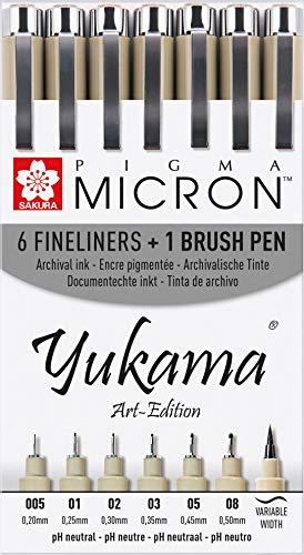 Sakura Pigma Yukama® Art-Edition, 6 Pigma Micron Fineliner + 1 Pigma Brush Pinselstift, Schwarz