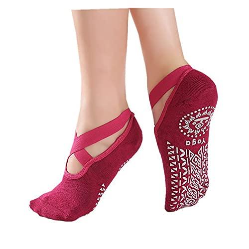 Mujeres Vendaje de Yoga Calcetines Antideslizante amortiguación de Secado rápido Pilates Calcetines de Ballet Buen Agarre para Las Mujeres Calcetines de algodón (Color : Red)