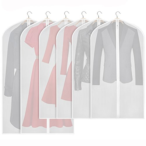 Zilink Hanging Garment Bag Lightweight Suit Bags Dust-Proof (Set of 6) with Sturdy Full Zipper for Closet Storage and Travel [Upgraded Version]