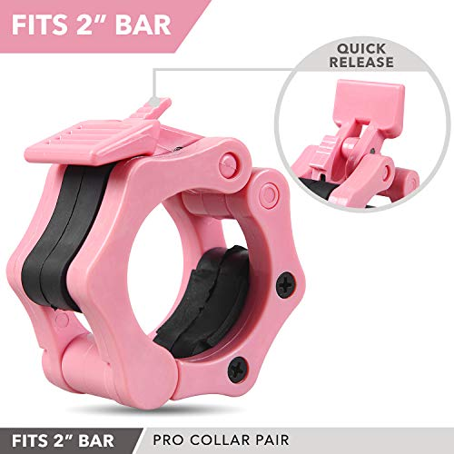 """Quick-Release Safety Collars 2 inch, Set of 2- PINK – By Day 1 Fitness, Weight Locking Clips for Olympic Weightlifting 2"""" Bars - Heavy-Duty 2-inch Plate Clamps for Powerlifting, Strength Training"""
