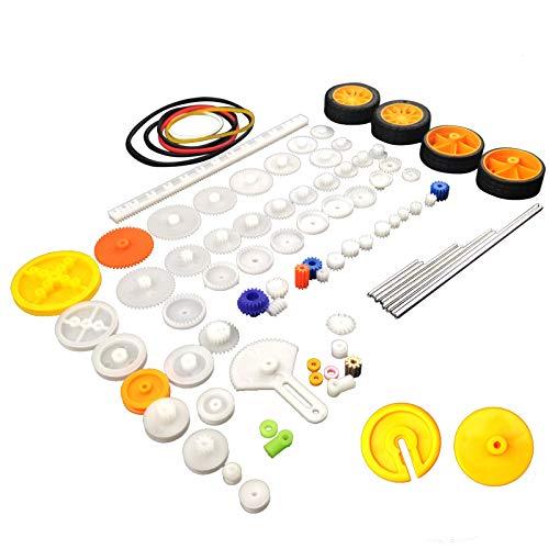 EUDAX 82 pcs Plastic Gear Package Kit DIY Gear Assortment Accessories Set for Toy Motor Car Robot Various Gear Axle Belt Bushings