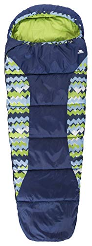 Trespass Kid's BUNKA 2-3 Season Sleeping Bag with Hollow Fibre Filling, Treadblue, 170 cm x 65 cm x 45 cm