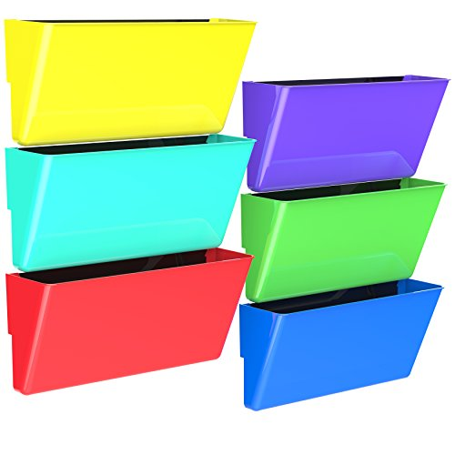 Storex Magnetic Wall Pocket, 16 x 4 x 7 Inches, Legal, Assorted Colors, Case of 6 (70252U06C)