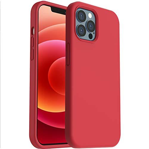 ORNARTO Silikon Hülle kompatibel mit iPhone 12 Case und iPhone 12 Pro Case 6,1, Verstärkte Stoßfeste Flüssige Silikon Gel Gummi Ganzkörper Schutz Stoßstange Abdeckungs Handyhülle Rot
