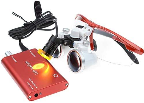 HCMNMW Lupa Digital de Mano, 2.5X420MM quirúrgica Dental lupas binoculares Lupa + 5W portátil Cirugía Linterna LED Lupa Pasatiempos, Lectura, Lupa de joyería, manualidade (Color : Red)