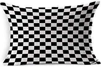 DarrenOw02 - Plantilla para estarcir en blanco y negro con diseño de líneas de ajedrez a cuadros, tablero de ajedrez, tablero abstracto paralelo, fundas de cojín rectangulares de 12 x 20 pulgadas para niñas