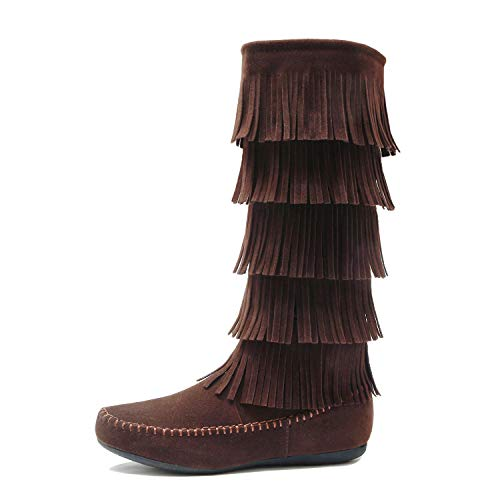 West Blvd - Lima - Womens Western Fringe 5-Tier Moccasin Flat - Faux Suede Mid Calf Boots (6.5 B(M) US, Brownv1 Suede)