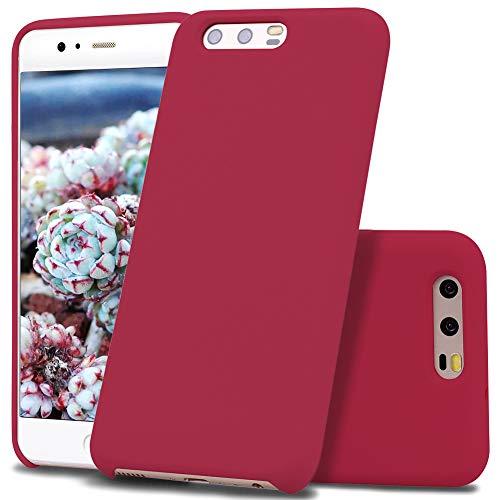 Vankii Cover per Huawei P10, Custodia Silicio Liquido con Fodera Tessile Microfibra Morbida Anti-Graffio e anticaduta Caso Silicone Sottile Protettiva Cover per Huawei P10 (Rosso Scuro)