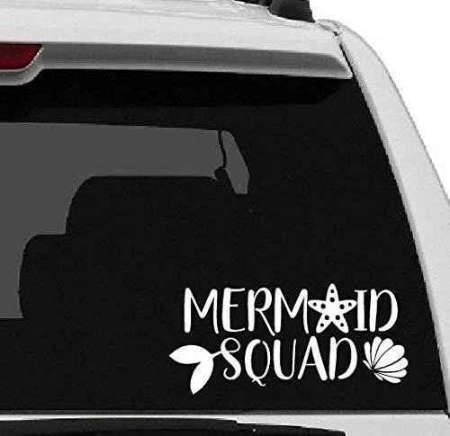 43LenaJon Calcomanía de vinilo para ventana de coche, diseño de sirena, para vacaciones, playa, arena, agua, cola y coche, impermeable,