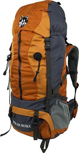 Polar Husky® Trekking-Rucksack Wanderrucksack mit Aluminium-Rahmen 65-75 Liter Farbe Creaston