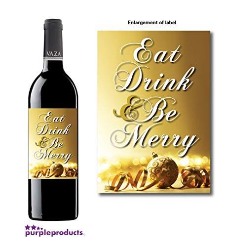 Eet, Drink en Wees Vrolijk Kerstmis Wijn, Geesten, Niet alcoholische fles label Celebration Gift