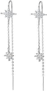 SLUYNZ 925 Sterling Silver Star Earrings Dangle Chain for Women Teen Girls Long Threader Earrings Tassel