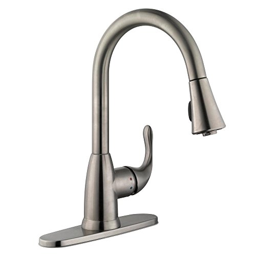 Glacier Bay Market Single-Handle Pull-Down Sprayer Kitchen Faucet in Stainless Steel,Small