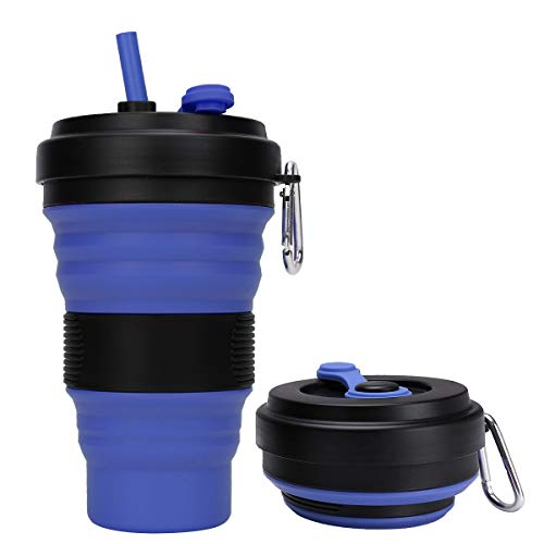 DARUNAXY Collapsible Travel Cup - 1 Pack Silicone Folding Camping Cup Sport Bottle with Lids - Expandable Scald-Proof Drinking Cup - 19 OZ Portable Bottle (Blue)