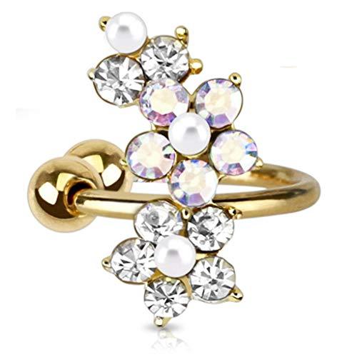Goldener oído Cuff flor con zirconia crystal piedra studs (fake Piercing pendientes del clip Brass)