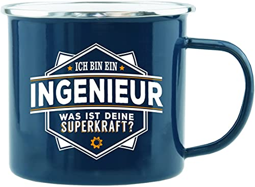 History & Heraldry Echter Kerl - Emaille Becher Ingenieur - individuelle Tasse mit Name und Spruch