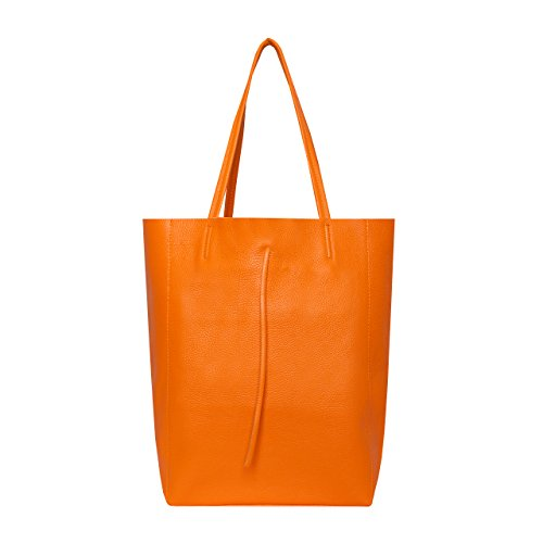 SKUTARI® Leder Vittoria Classic - Damen Shopper aus echtem Leder, Handtasche mit eingenähter Innentasche, handgefertigt in Italien, Fashion Tragetasche mit langen Griffen, 37 x 38 x 14 cm (Orange)
