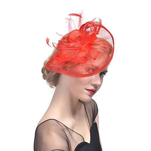Dames Lady Mesh Hoed Cap Bruid Veer Haar Clip Headdress Bruiloften Party Haaraccessoires Rood