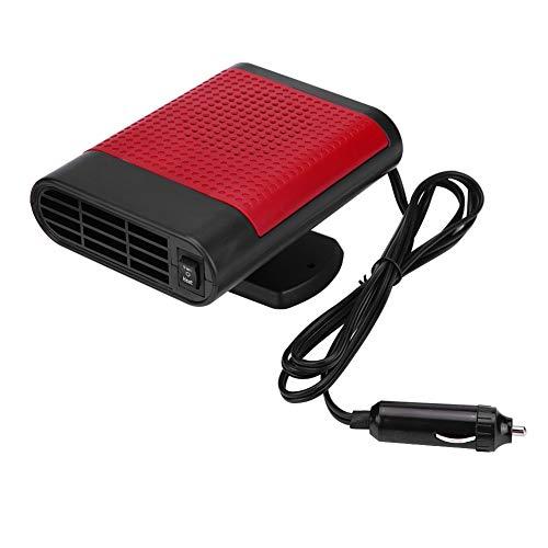 Acouto - Desempañador de 12 V para coche con base giratoria de 360 grados, calefactor eléctrico portátil para ventana, secador de calor, ventilador para parabrisas, descongelador, enchufe para encendedor de cigarrillos, Negro Rojo, default