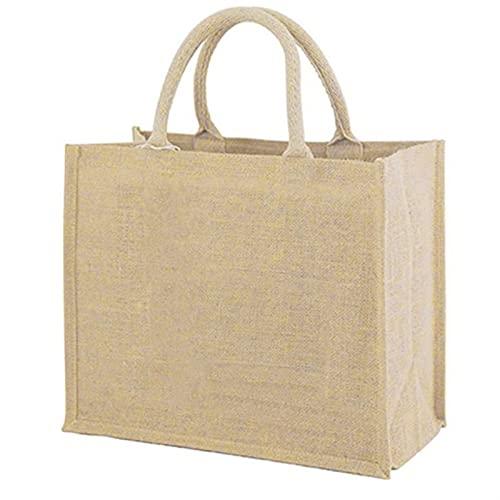 Bolsa de Playa Bolso de Compras Reutilizable de Lino Bolsos de la Playa Bolsas de Asas de Lienzo para Mujeres Bolsa de comestibles Grande (Color : Linen, Size : L 36X40X15CM)