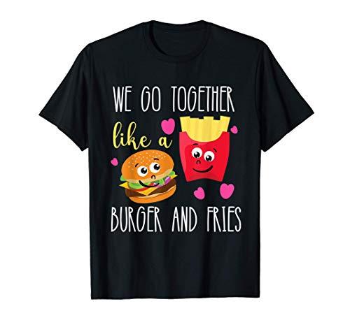 女性と子供のためのかわいいチーズバーガーとフライドポテトのギフト Tシャツ