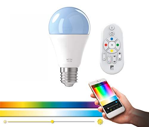 EGLO connect E27 LED Leuchtmittel A60, Smart Home Glühbirne, 9 Watt (entspricht 60 Watt), 806 lm, 1700K-6500K, dimmbar, Weißtöne und Farben einstellbar, inklusive Fernbedienung