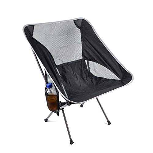 Silla plegable portátil para acampada y pesca, color negro y gris