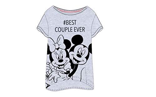 Disney Mickey und Minnie Maus Damen Nachthemd Gr. S, M, L, XL (Grau, M)