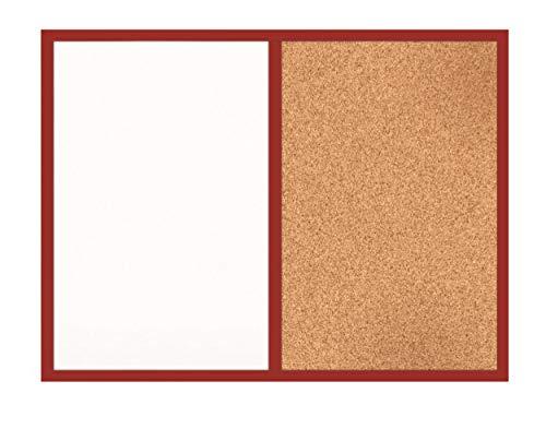 Kombi-Board/Magnettafel & Pinnwand 60 x 40 / Maltafel/Magnet Kork-Tafel mit Holzrahmen rot/Büro