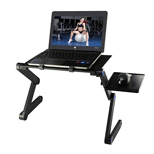 Foldable Laptop Desk, Etpark Portable Laptop Desk Folding PC Desk Bed Sofa Laptop Stand Folding Computer Laptop Table with Mouse Platform & Anti-Slip Bar (Black Without Fan)