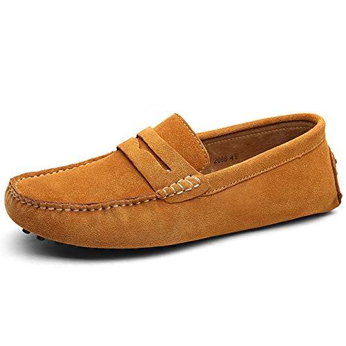 Jamron Herren Wildleder Penny Loafers Gemütlich Fahrende Schuhe Mokassin Slippers Bräunen 2088 EU39.5