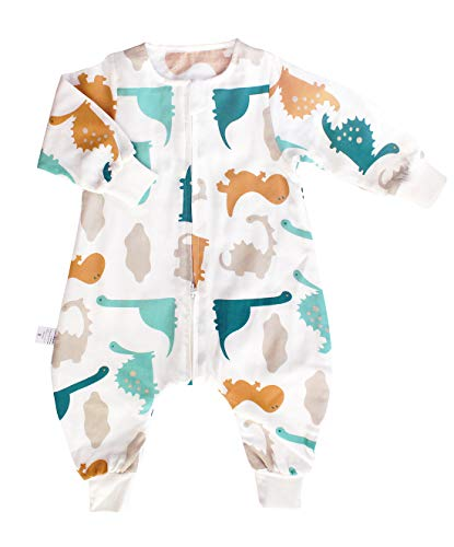 SINCERE Muslin Original 100%Cotton Sleeping Sack Bag Baby Wearable Blankets Long Sleeves (Dinosaur Park, L(Baby Between38-45'))