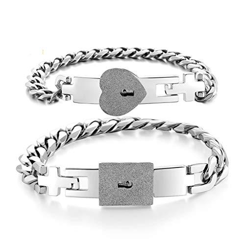 geneic 2 x Silberfarbene Edelstahl-Armbänder mit Schloss und Schlüssel-Armreifen, Set für Paare, Schmuck-Sets