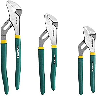 Pipe Pliers Set, METAKOO Tongue and Groove Pliers 3 pcs, Straight Jaw Design, Water Pump Pliers Set 8/10/12 Inch, Groove Joint Pliers Forged from High Carbon Steel for Water Pumps and Pipes MWPP01
