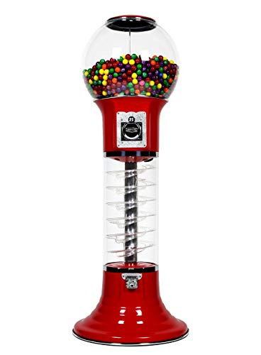"""Gumball Machine for Kids RED Vending Machine 4'10"""" $0.25 Tall Spiral Candy Machine with Dispenser for Gumballs Bubble Gums Bouncy Balls Capsules"""