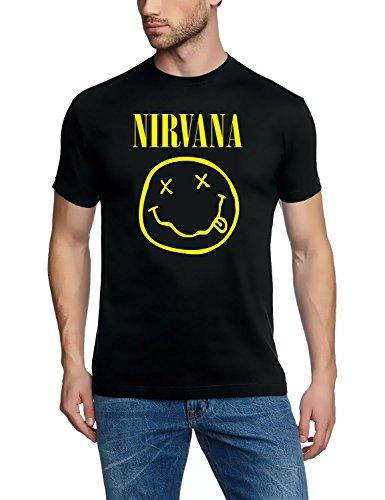 Coole-Fun-T-Shirts T- Shirt Nirvana Smiley Druck Vorne + Hinten, Noir, X-Large (Taille Fabricant: XL) Mixte
