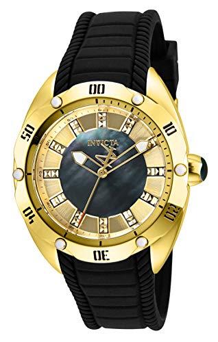 Invicta Women's Venom Stainless Steel Quartz Watch with Silicone Strap, Black, 20 (Model: 29006)