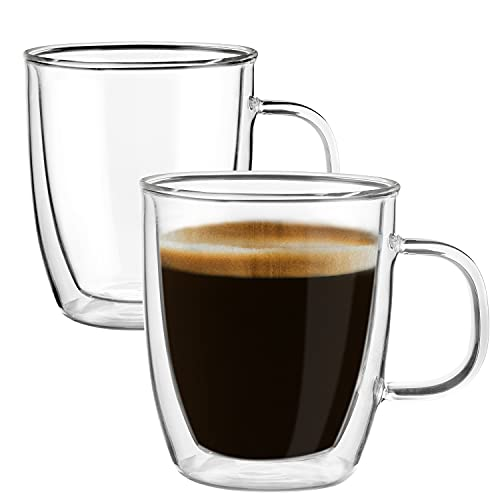 Double Walled Glass Coffee Mugs,(Set of 2) 12 Ounces Glass Clear Coffee Cups - Insulated Glassware With Handle - Large Latte Cappuccino or Tea Cup