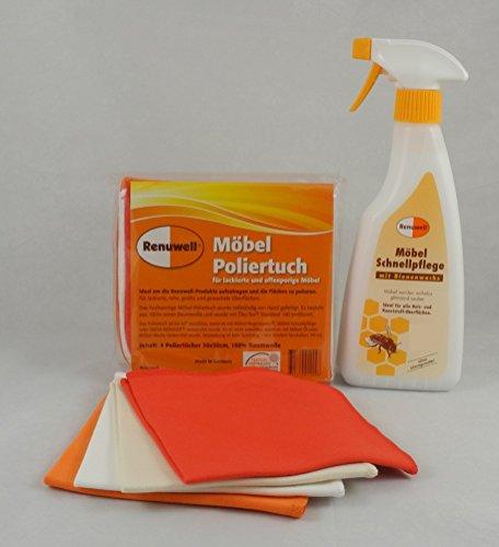 Preisvergleich Produktbild Renuwell Spar-Set Möbel-Poliertücher 4 Stück + Möbel-Pflege 500 ml