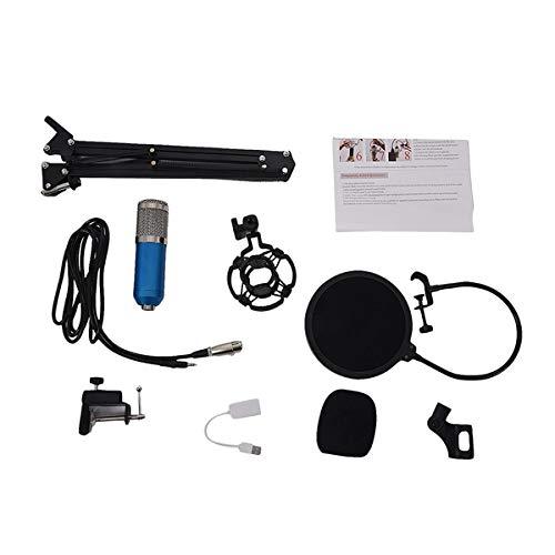 JVCAN Professionele condensator audio 3,5 mm bedrade studiomicrofoon, vocale opname KTV karaokemicrofoon microfoon met standaard voor computer