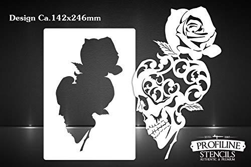 Airbrush sjabloon Skull n Rose - doodskop en roos