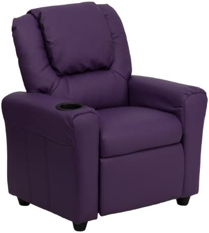Best Flash Furniture Contemporary Purple Vinyl Kids Recliner with Cup Holder and Headrest