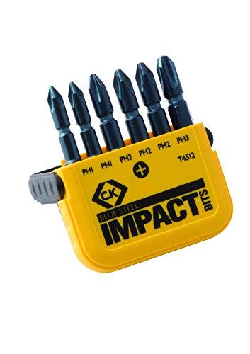 "C.K T4512 Set di inserti ""Blue Steel"" per avvitatore a impulsi - 6 pezzi (PH), 50mm"