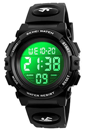 Reloj deportivo digital para niños, impermeable, analógico, analógico, de cuarzo, 7 colores LED, con alarma, relojes de pulsera para...