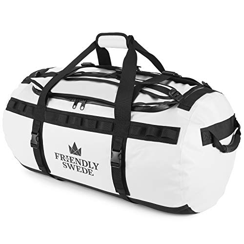 The Friendly Swede The Friendly Swede Wasserfeste Reisetasche Duffle Bag Rucksack - 30L / 60L / 90L - Seesack, Sporttasche Duffel Dry Bag mit Rucksackfunktion - SANDHAMN (Weiß, 90L)