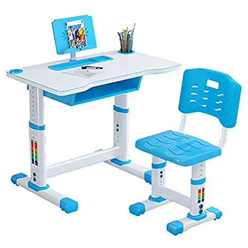 Children Desk Height Adjustable Kids Study Table And Chair Set with Lamp Pull out Drawer Storage Pencil Case Bookstand Student Writing Desk (Blue)